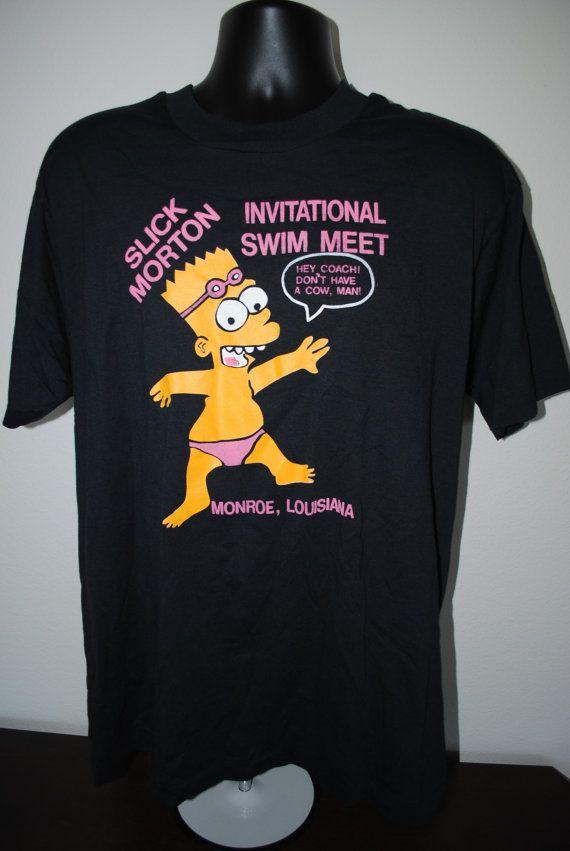 d90add143 90's Bart Simpson Weird Rare Vintage Bootleg Hey Coach Don't Have A Cow Man  Louisiana Swim Meet T-Shirt