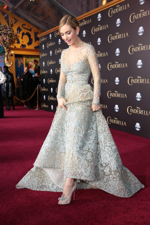5d5d487dce0b Lily James Stuns in Oscar de la Renta Gown at the  Mamma Mia! 2 ...