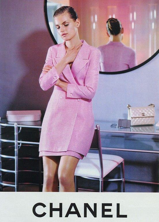 1996 Fendi Furs Fashion Magazine Print Ad: Guinevere Van Seenus By Karl Lagerfeld For Chanel Fall