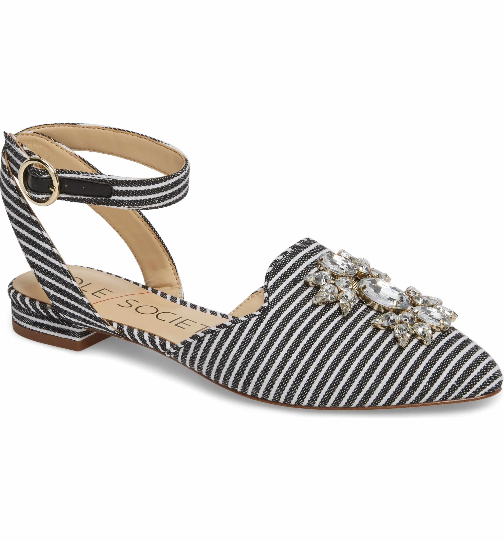 Sole Society Pearla Ankle Strap Flat (Women) gLt0qnmb9u