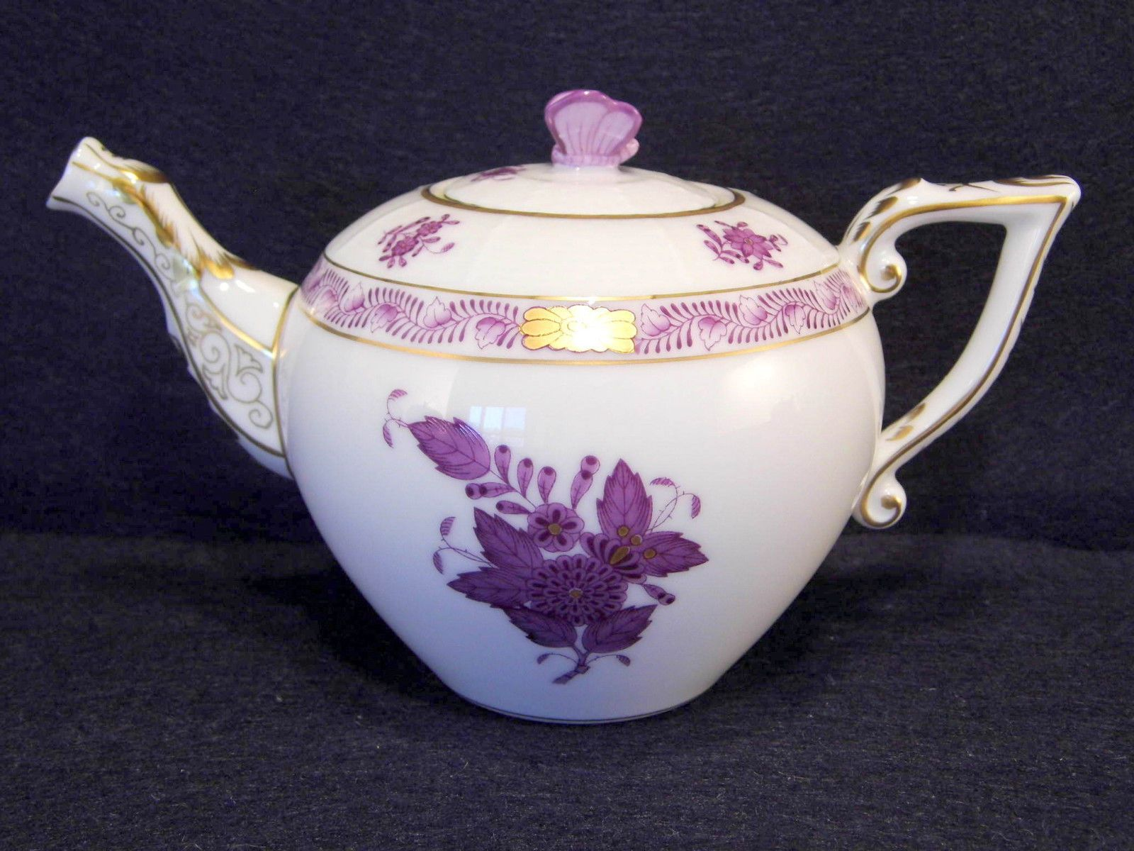 Herend Chinese Bouquet Lavender Teapot For Two Tea Cups 12 Fl Oz Hold Butterfly Tea Pots Tea Tea Cups
