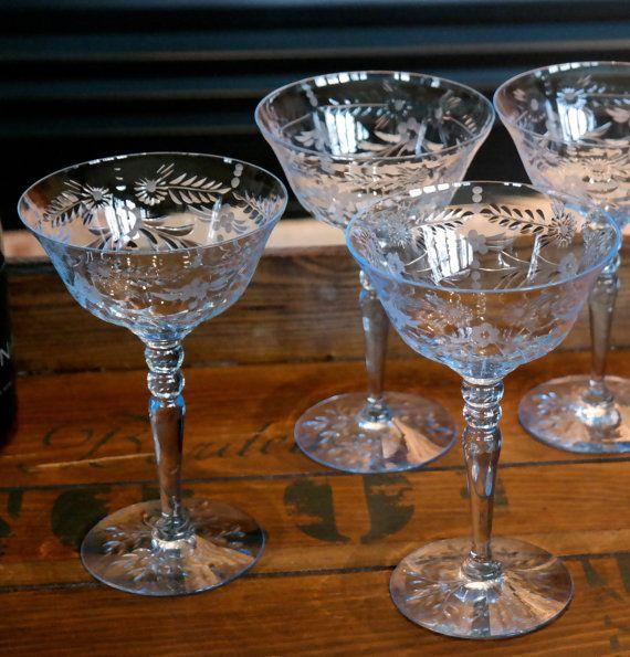 Vintage Antique Etched Light Blue Tall Champagne Wine Martini Cocktail Glasses Set Of 6 Vintage Wine Glasses Crystal Cocktail Glasses Vintage Wine