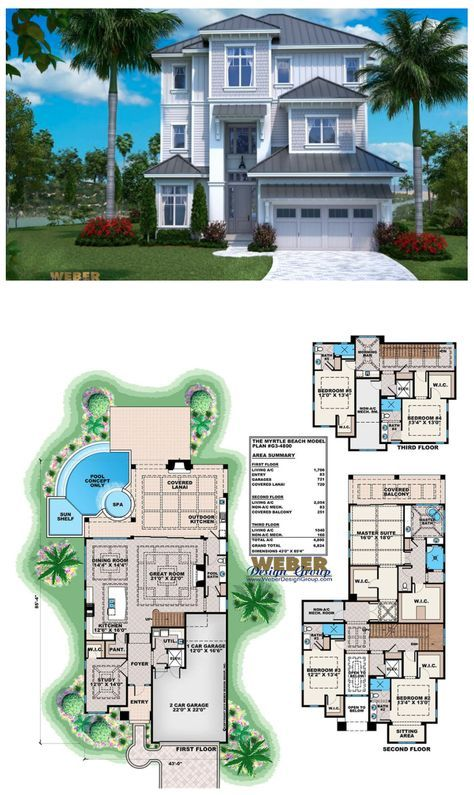 Beach House Plan Open Layout Beach Home Floor Plan with Pool in