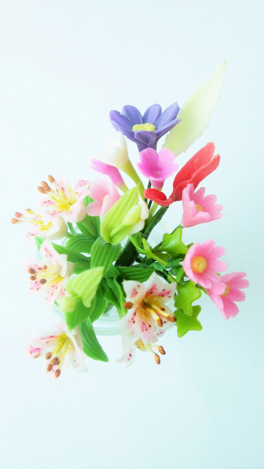 Miniature Polymer Clay Flowers Supplies Sweet Lilies Bouquet By