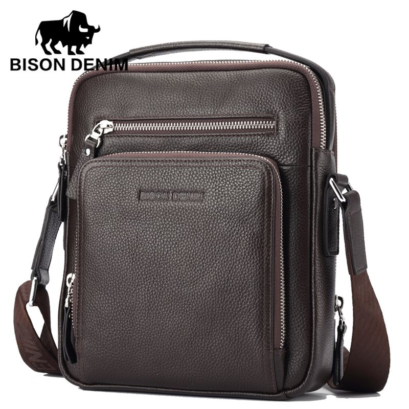 BISON DENIM Genuine Leather Men Bags Hot Sale ipad Handbags Male ...