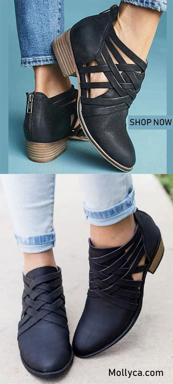 4e2682b9b4b Criss-Cross Hollow-out Chunky Boots | Shoes | Fashion, Fashion shoes ...