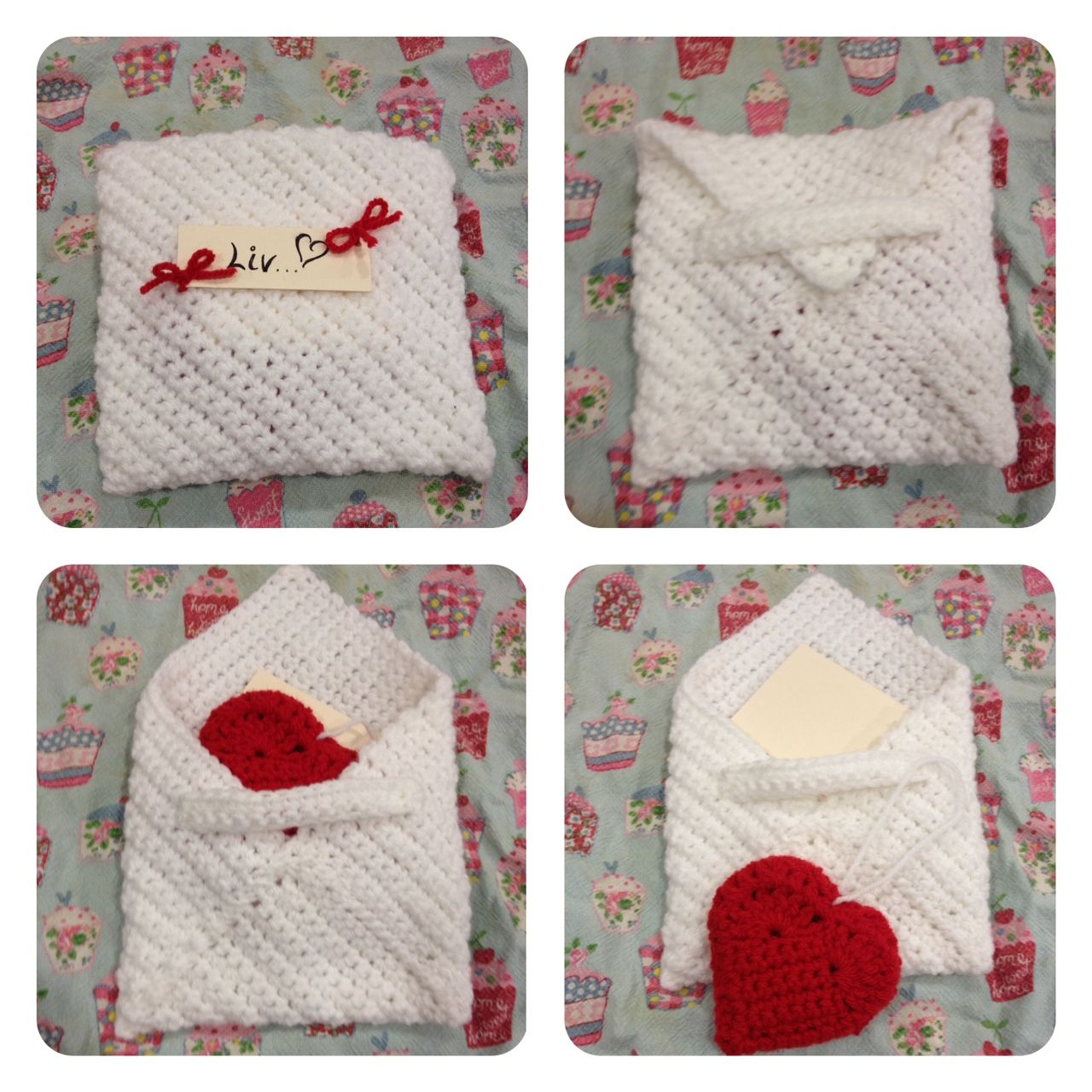 Cute Valentines gift idea! Crochet envelope with crochet heart decoration inside.  Made by Zoe <3