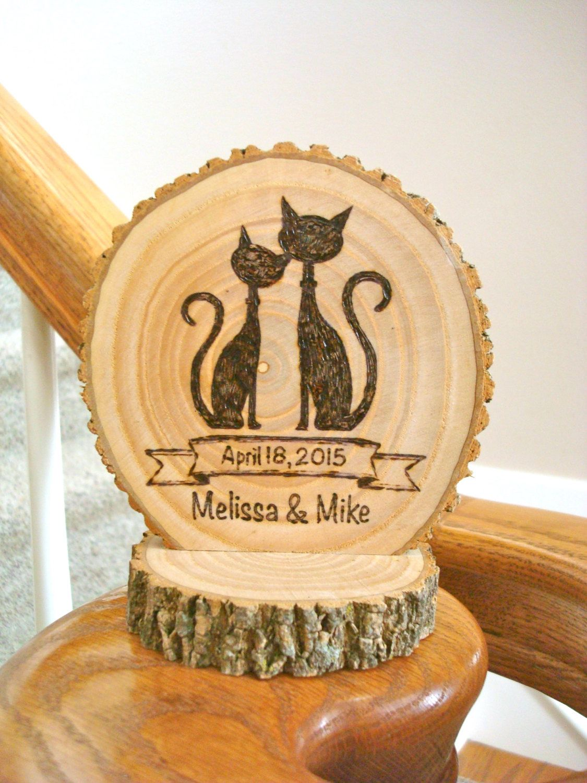 Wedding Cake Topper Rustic Wood Burned Cat Couple