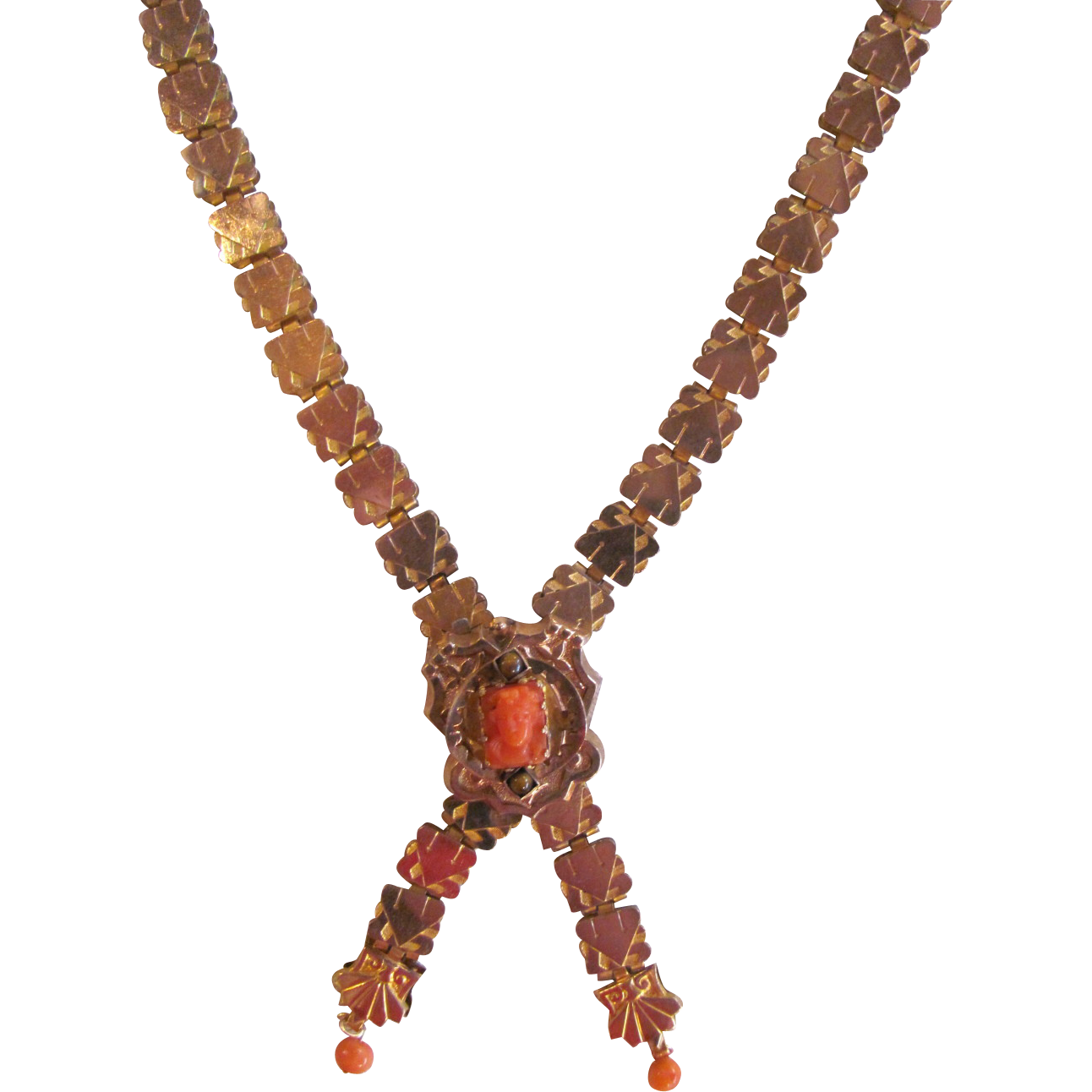 Antique Victorian 10k Gold Filled Bookchain Necklace Coral Cameo 1880 S 10k Gold Necklace Gold