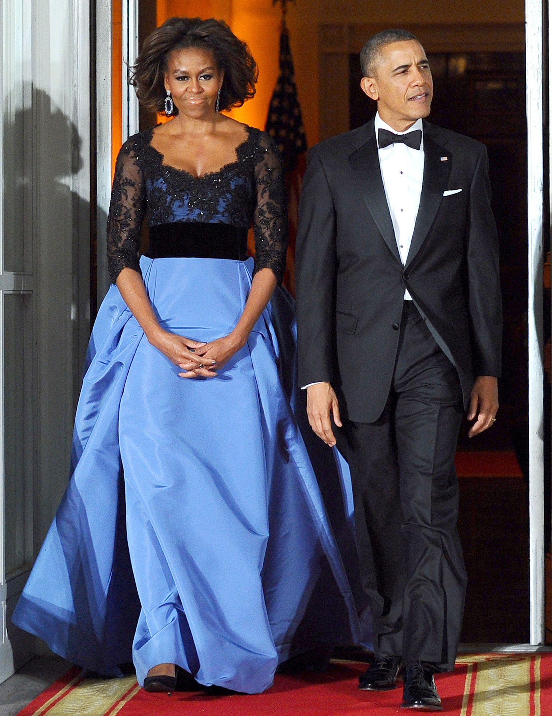 Michelle Obama Wears Carolina Herrera Gown to State Dinner.  Stunning!