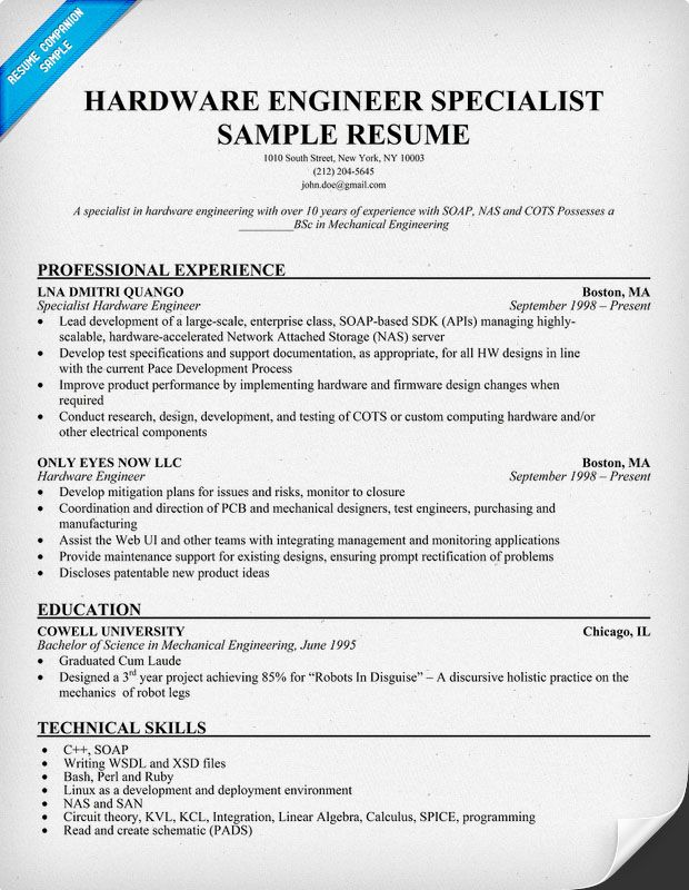 Hardware Engineer Specialist Resume (resumecompanion) Resume - it network specialist sample resume