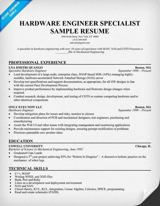 Hardware Engineer Specialist Resume Resumecompanion Com Resume Objective Examples Manager Resume Resume Objective