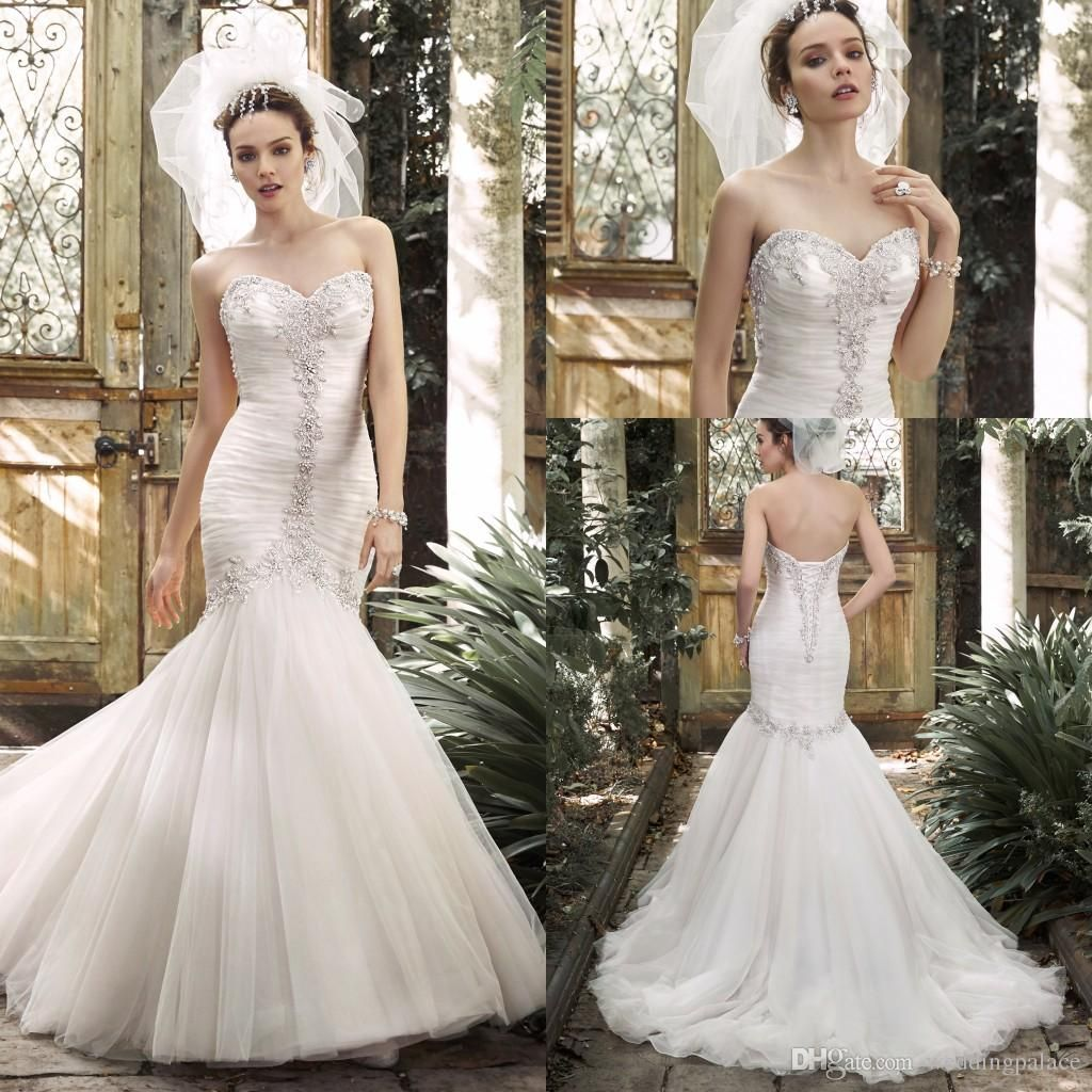 Top brand new collection sweethear neck pleats beaded wedding