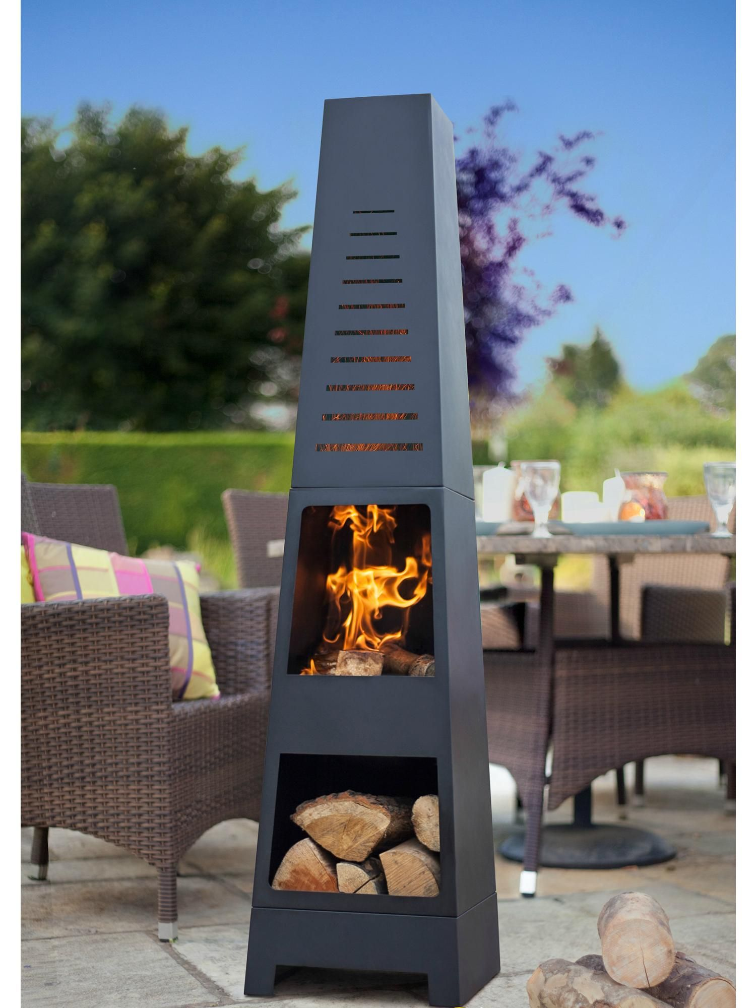 Buy Your La Hacienda Contemporary Tower Steel Chimenea Online Now At House Of Fraser Why Not Buy And Coll Outdoor Fire Pit Outdoor Heating Outdoor Patio Decor