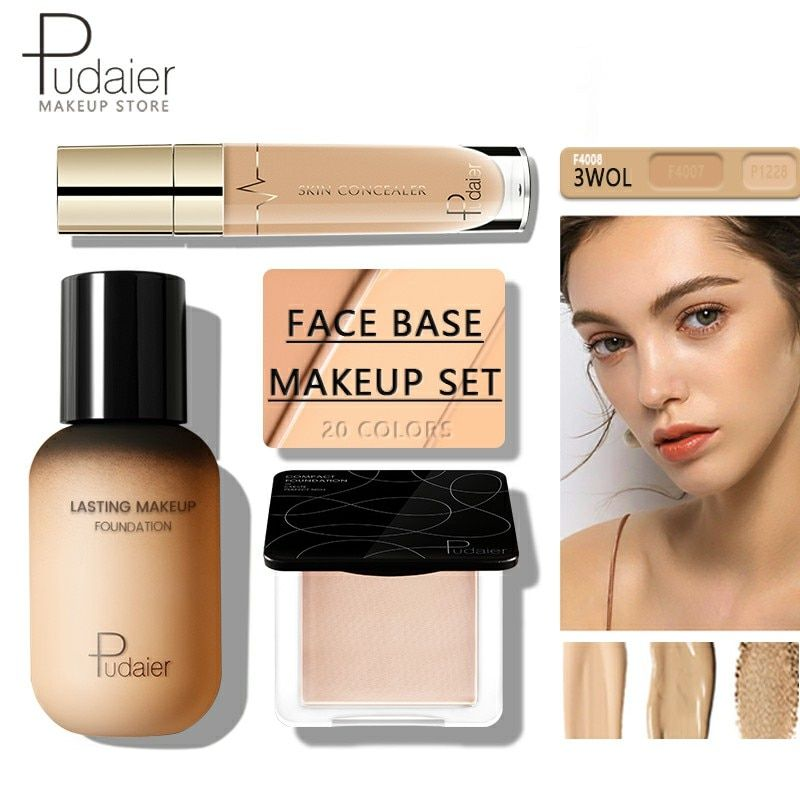 Pudaier Face Foundation Makeup Set Liquid Foundation Cream Matte Foundation Base Face All Concealer Cosmetic Professional Base In 2020 No Foundation Makeup It Cosmetics Concealer Matte Foundation