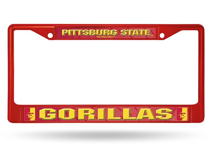 Pittsburg state red colored chrome frame | Chrome, License plate ...