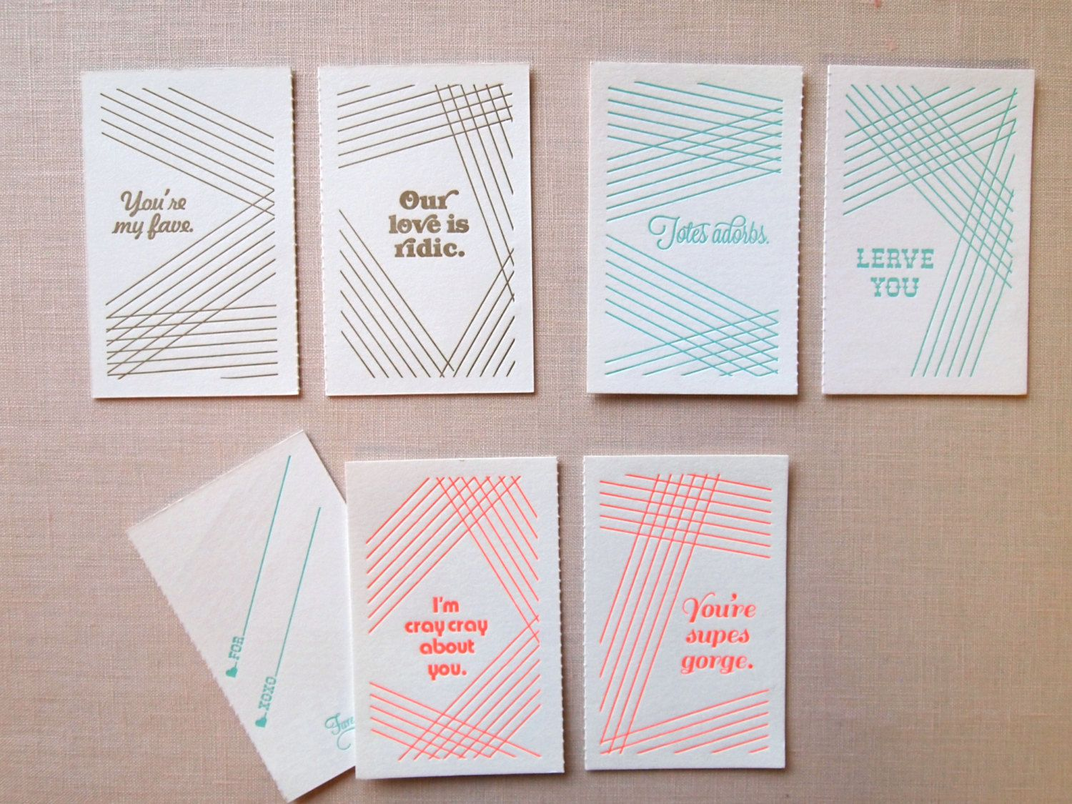 Old School Valentines Abbreviated Sayings Set Of Cards 12 00 Via