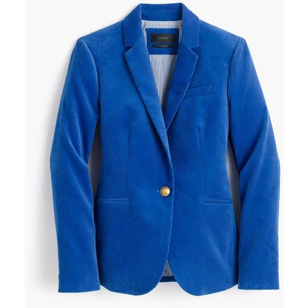 J.Crew Campbell Blazer ($225) ❤ liked on Polyvore featuring outerwear, jackets, blazers, lined jacket, corduroy blazer, slim fit jacket, slim blazer and short-sleeve blazers