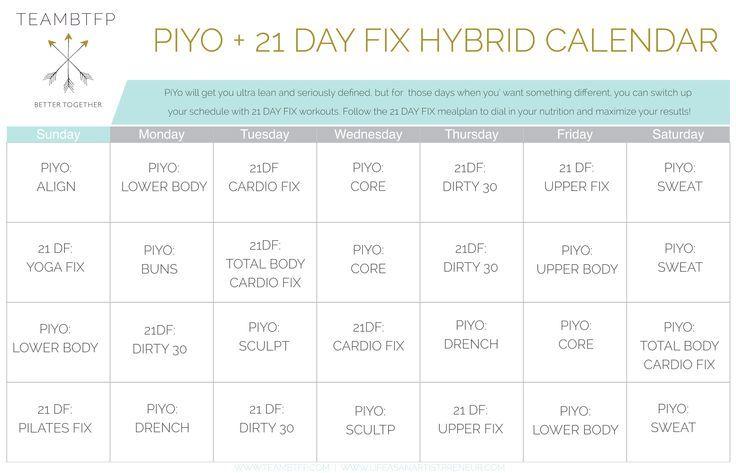 Piyo  Day Fix Hybrid Calendar Day Fix Workout Calendar