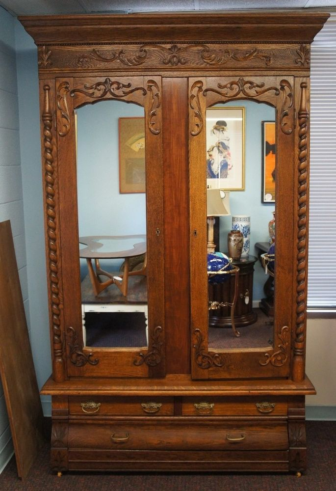 Victorian Antique Carved Oak Knockdown Armoire Mirrored Doors