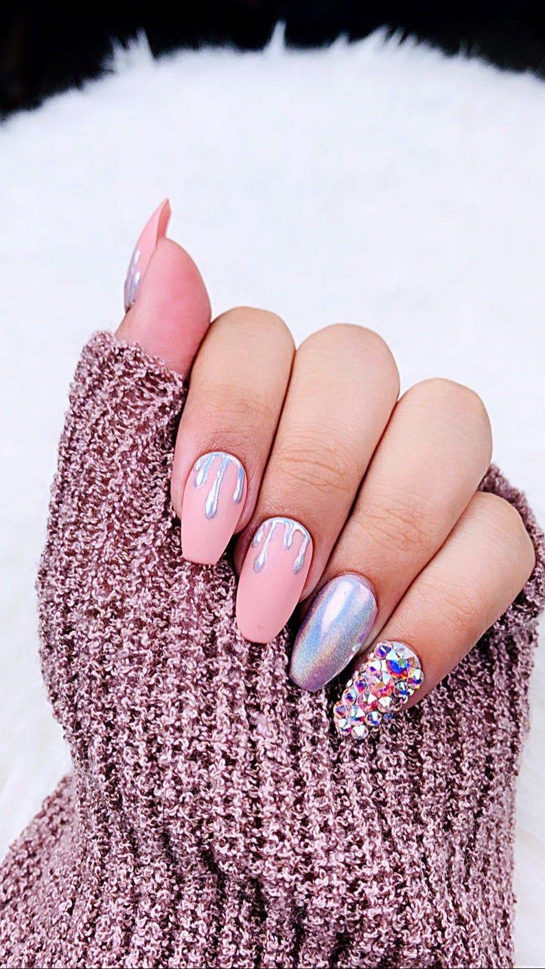 Unicorn Holo Dripping Press on Nails | Unicorn Nails| Holographic | Swarovski Nails | Chrome Nails | Sparkly Nails | Pink Nails| Fake Nails