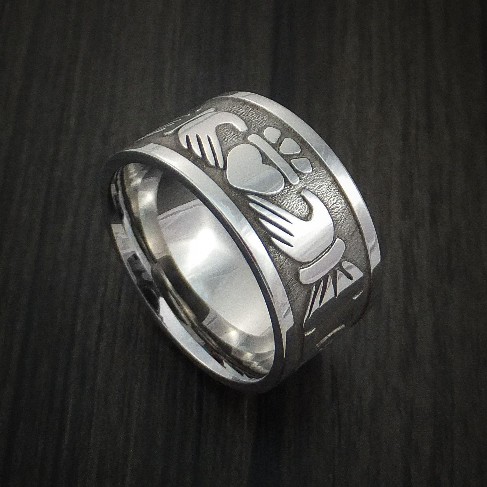 Wide Cobalt Chrome Claddagh Celtic Knot Ring Custom Made