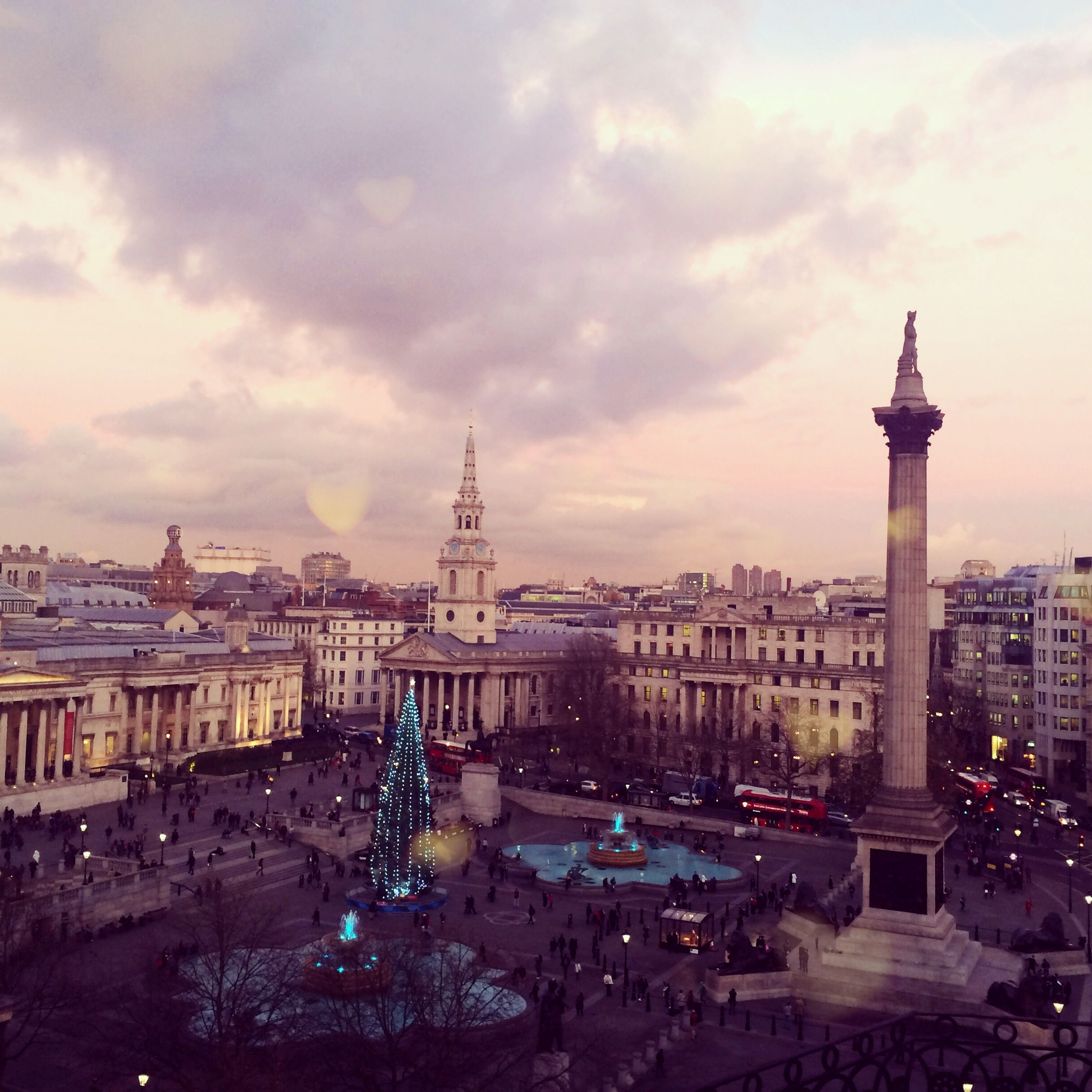 Christmas Places To Visit In London: Clouds Gathering Over Trafalgar Square In #London At Dusk