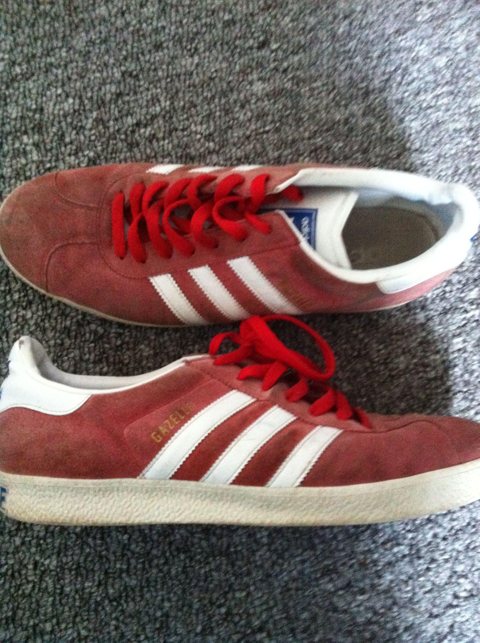 Adidas gazelle red white stripes
