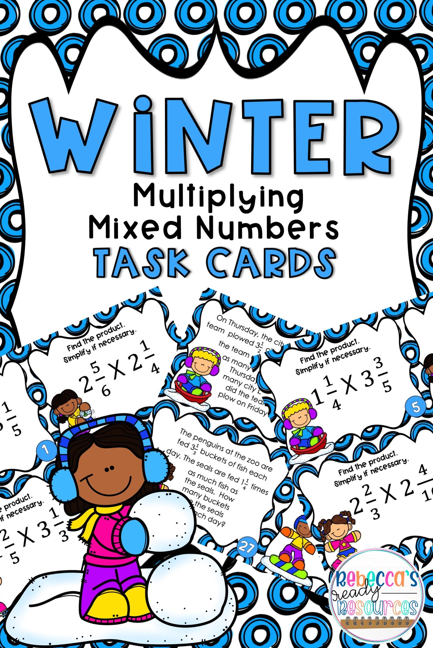 Multiplying Mixed Numbers Task Cards Winter Theme