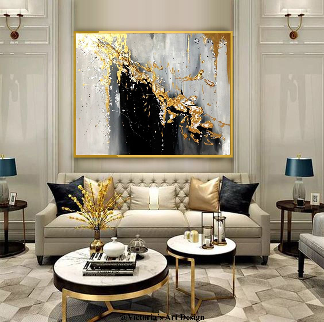 Oil Painting Original Oil Painting Abstract Modern On Canvas Etsy Gold Living Room Living Room Decor Apartment Glam Living Room Oil painting for living room