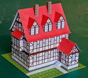 This beautiful Servant House paper model  in a classic European style  and in 1/100 scale , was created by my friend, German engineer, des...