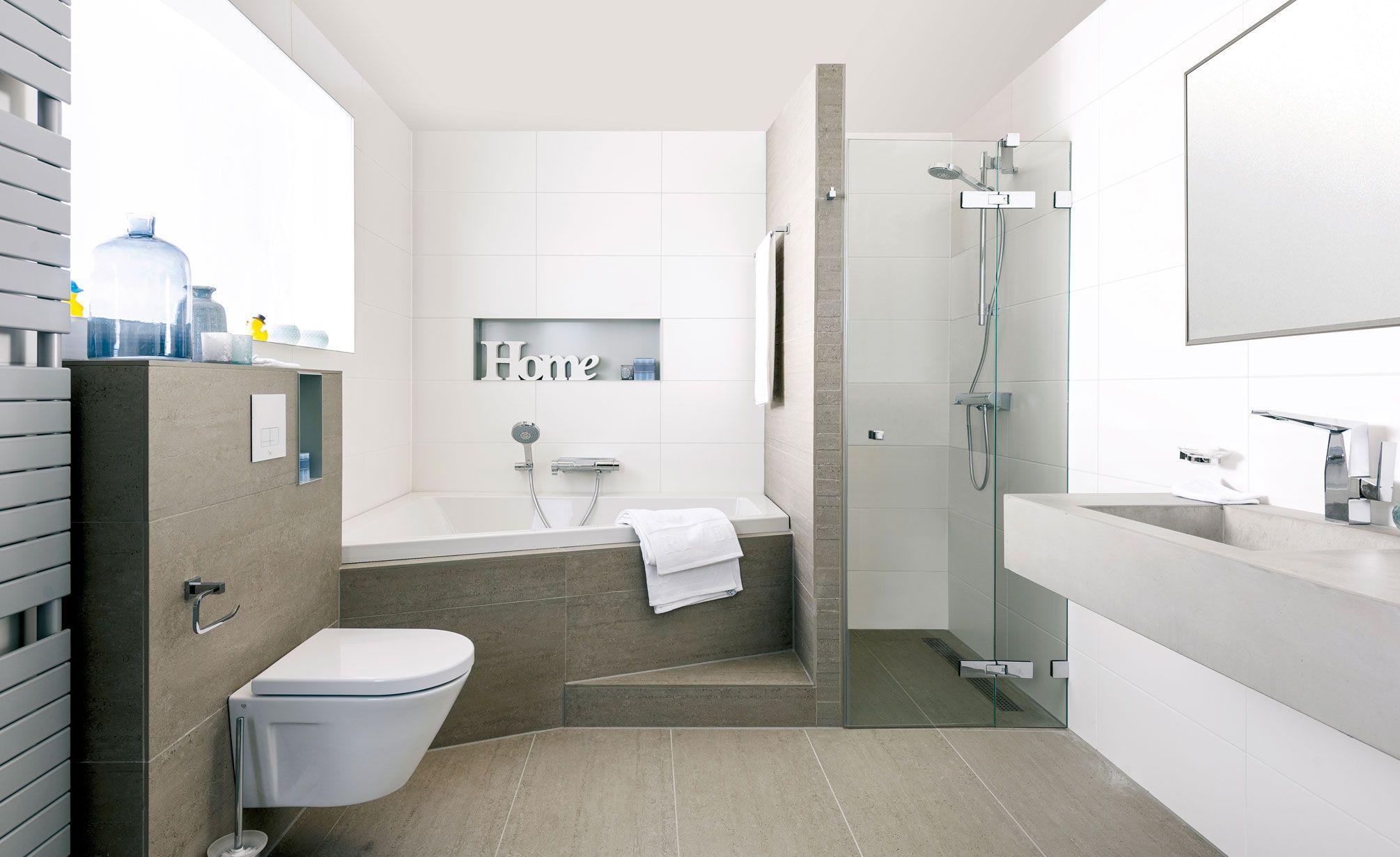 in deze badkamer voelt u zich al snel thuis. aardetinten en, Badkamer