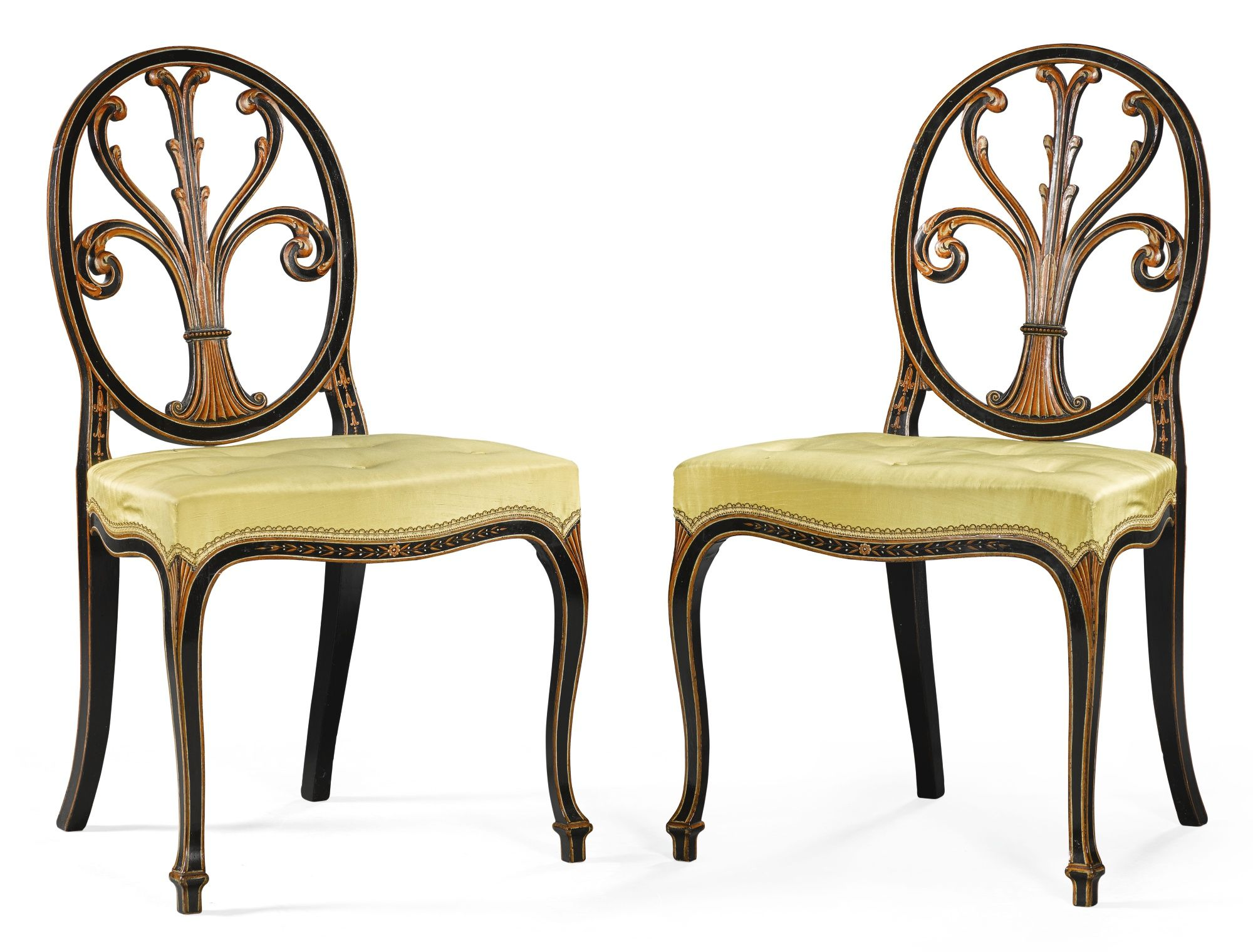 A Pair Of George Iii Polychrome Decorated Side Chairs Circa 1780  # Muebles Estilo Hepplewhite