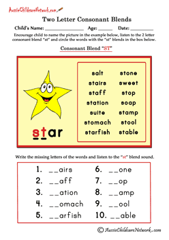 two letter consonant clusters worksheets | Letter blends ...