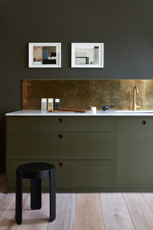 Muted Green Kitchen Cabinets Brass Gold Backsplash Modern