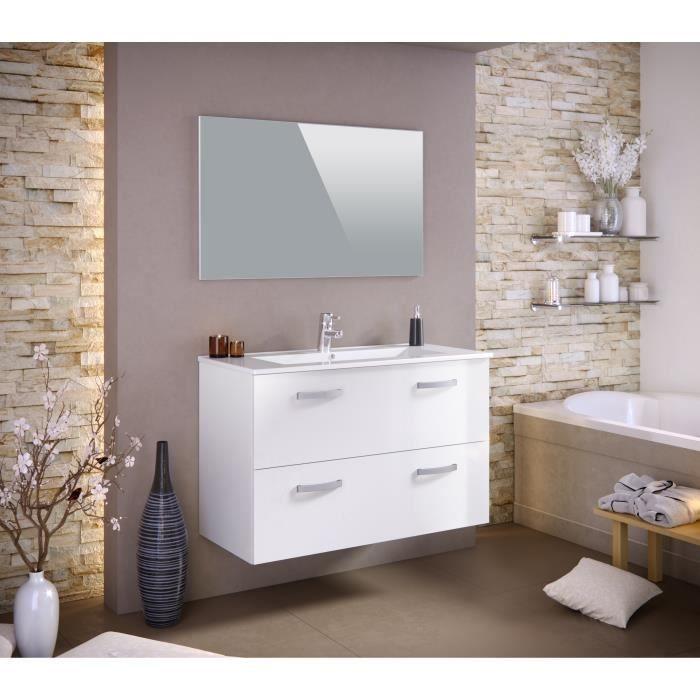 Stella Ensemble Salle De Bain Simple Vasque Avec Miroir L 100 Cm Blanc Laq Creative Bathroom Design Bathroom Remodel Designs Small Bathroom Remodel