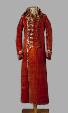 Grand Duke Alexander Pavlovich's Riding Coat   Russia. 1790 Velvet, plush, metal thread and plaques; embroidered and gilded. L. 137 cm   Source of Entry:  State Museum of Ethnography of the Peoples of the USSR, Leningrad (before 1917 in the Arsenal of the Winter Palace). 1941