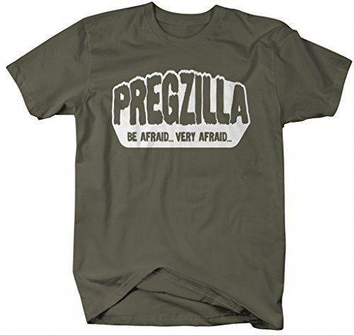 816d3d3c Shirts By Sarah Women's Unisex Funny Pregzilla T-Shirt Be Afraid ...