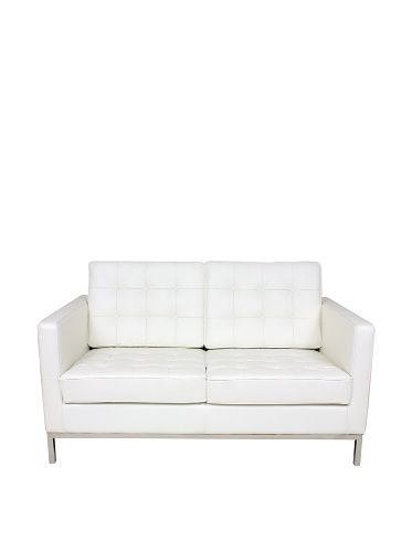 www.myhabit.com  This dapper 2 seat sofa is accented by fully welted and tufted seat and back, soft and supple top-grain leather is  contrasted by exposed polished metal frame; inner frame is crafted from solid wood