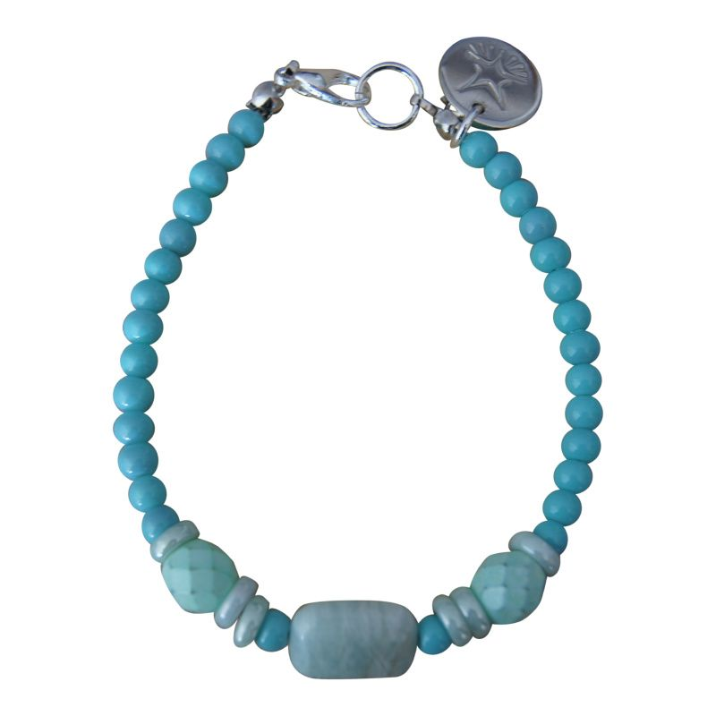 Armband Zilver - Rectangle Stone Spearmint Green