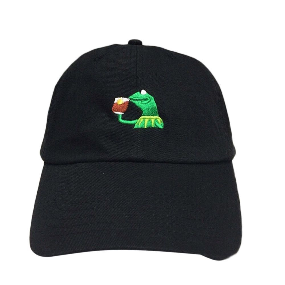 2039ab2b087 KERMIT NONE OF MY BUSINESS UNSTRUCTURED DAD HAT CAP FROG TEA LEBRON JAMES  NEW casquette kenye west ye bear dad cap Big Daddy hat