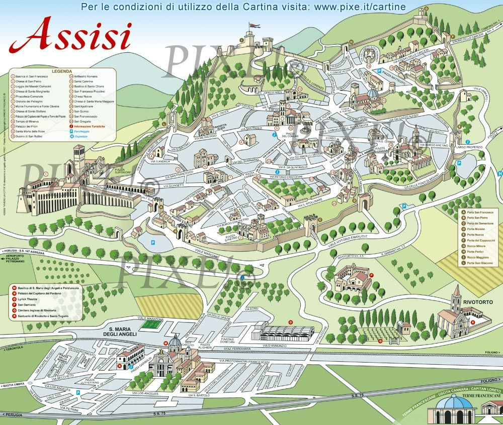 Assisi Italy Sightseeing Map Assisi Italy In 2019 Pinterest