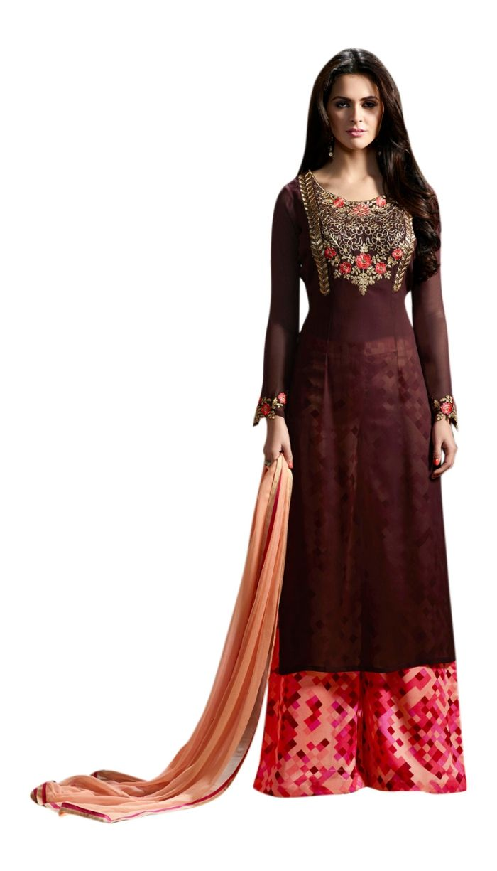 eea3adaecc94 Coffee Colour Punjabi Suit With Thread Work in 2019