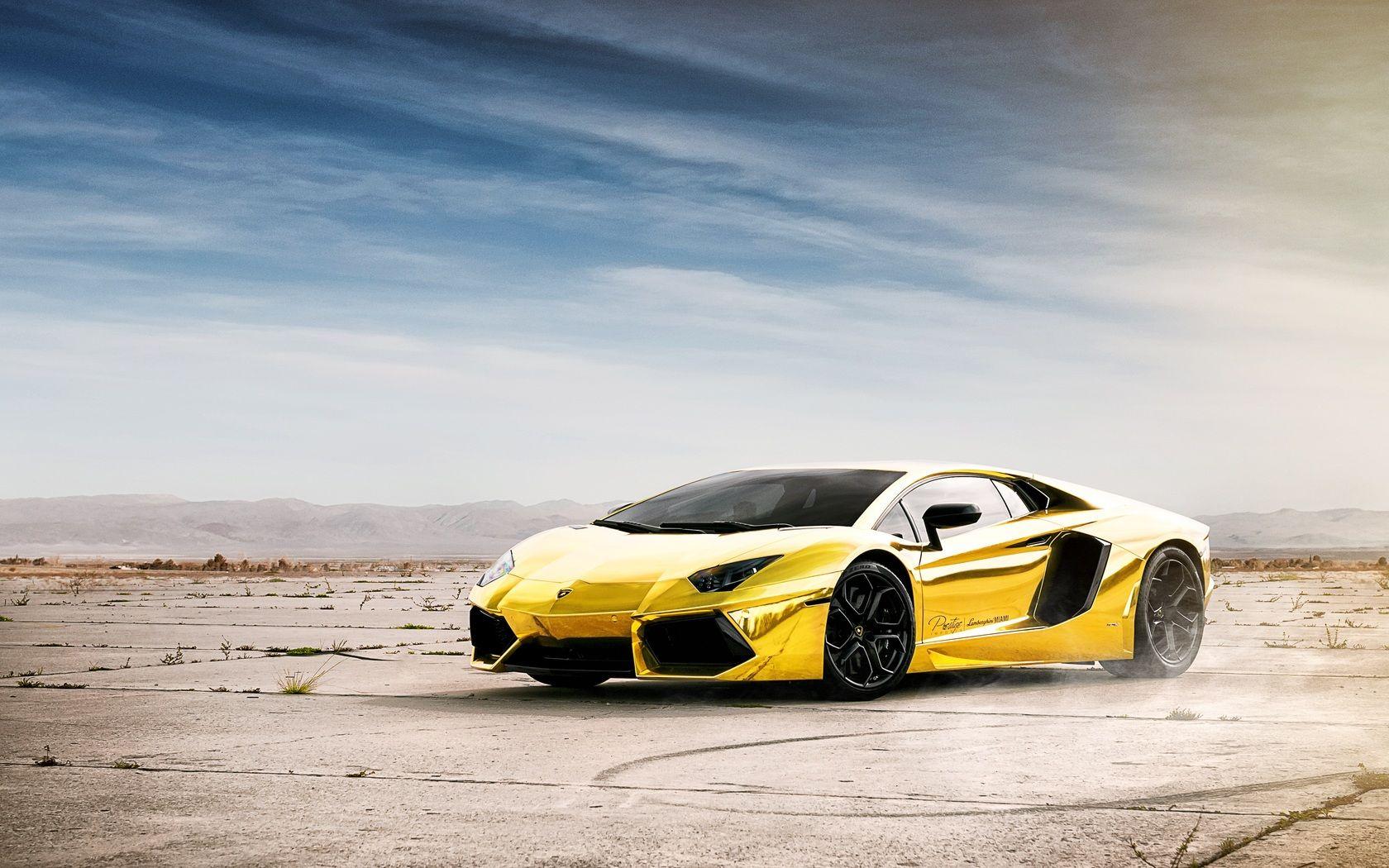 World No1 Luxury Car Lamborghini Aventador Gold Hd Wallpaper