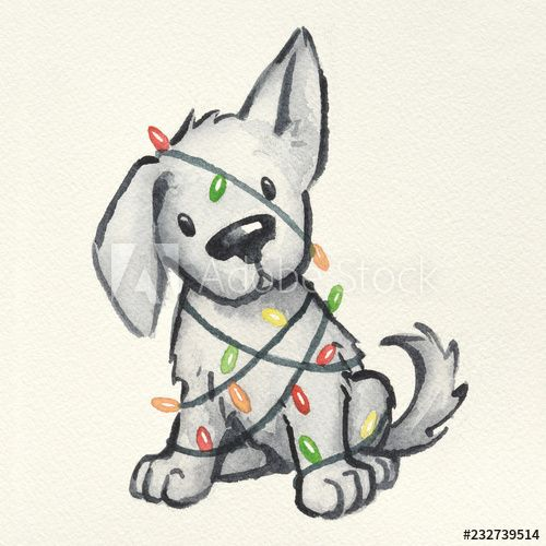 cute puppy dog wrapped in Christmas tree lights, hand painted and drawn watercolor Christmas illustration, funny naughty puppy Christmas card design - Buy this stock illustration and explore similar illustrations at Adobe Stock