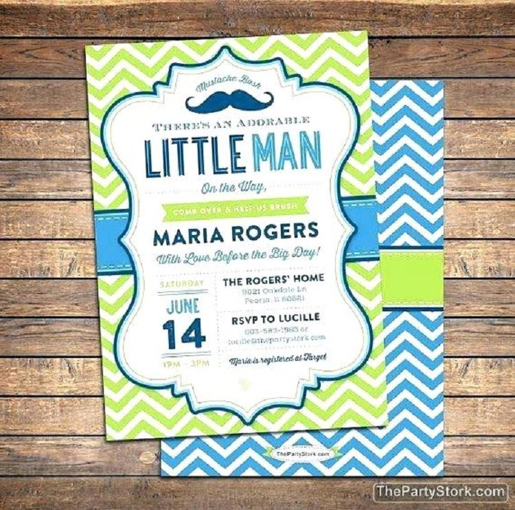 Little Man Baby Shower Invitations Templates Free Invitation Ideas