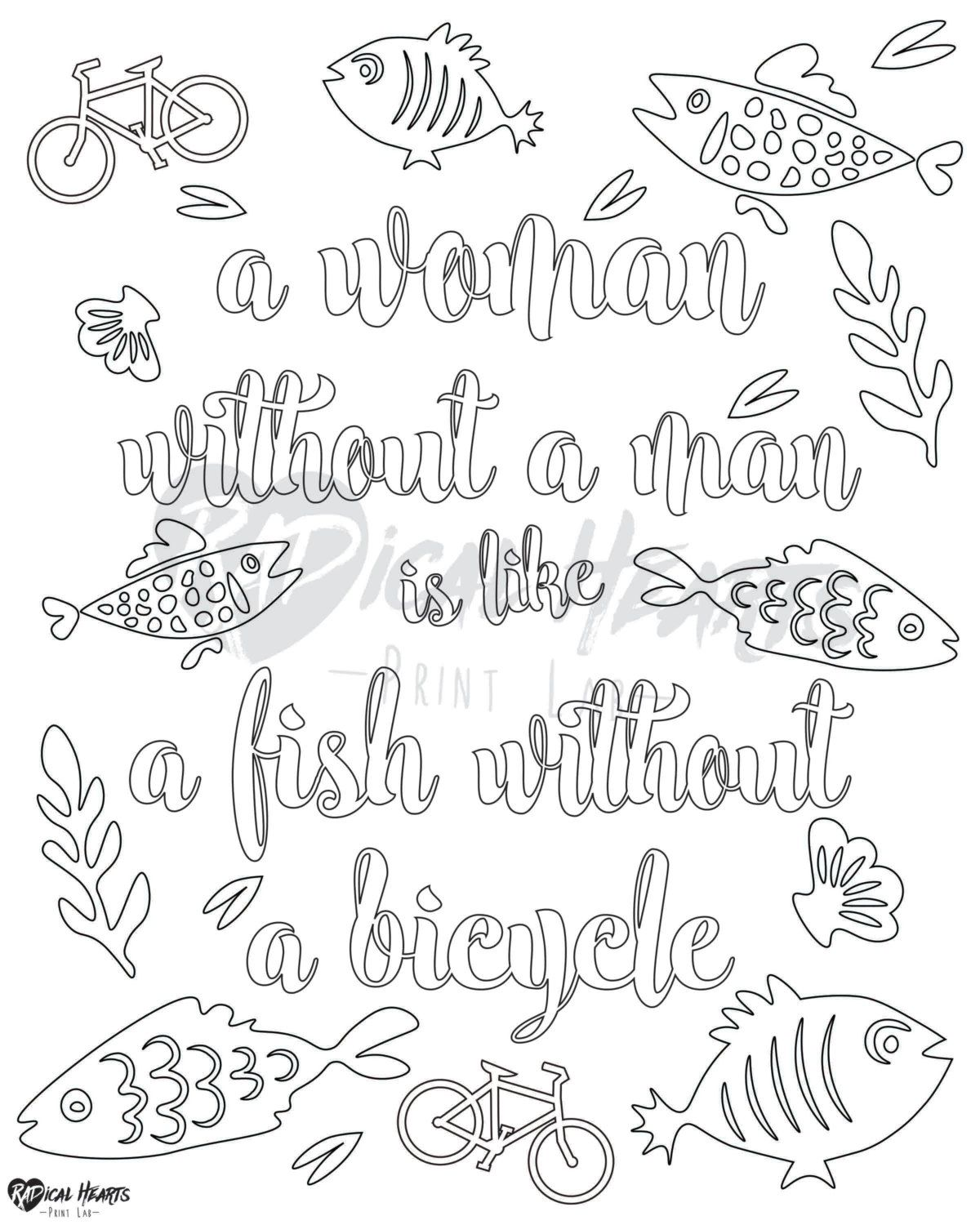 Feminist printable coloring page quirky by radheartsprintlab