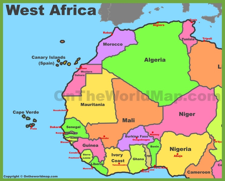 West Africa Map Map of West Africa in 2020 | Africa map, West africa, Africa