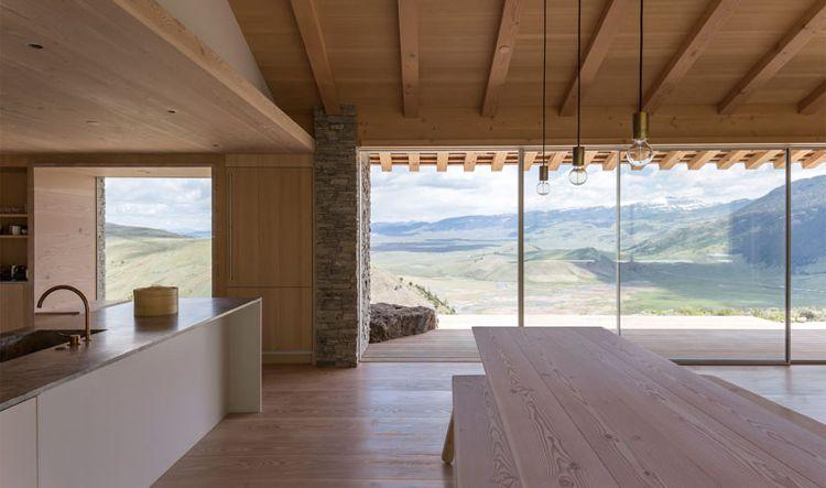 Minimalistisch wohnen gemuetlich haus stein holz wohnzimmer