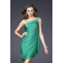 Sheath/Column One-shoulder Short/Mini Chiffon Prom Dress with Beadings